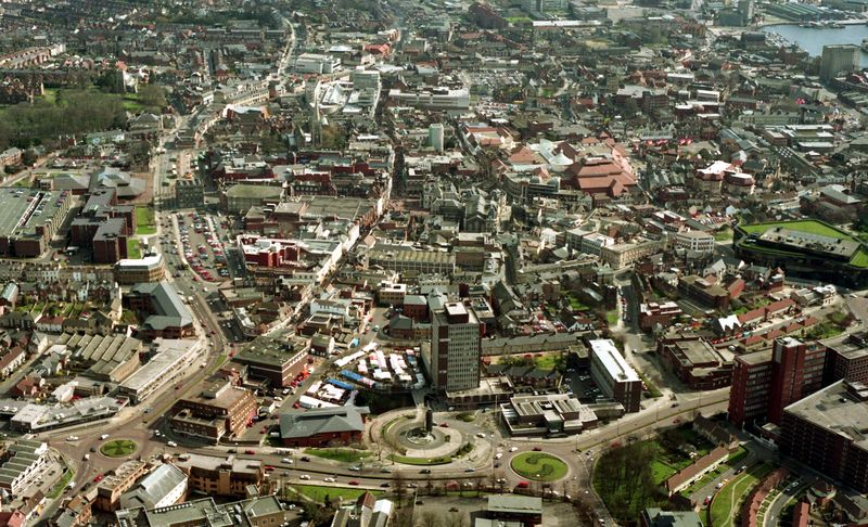 Ipswich from the air 1994