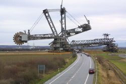 Bucketwheel excavator 288 crossing the road
