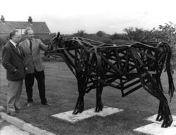 Rintoul Booth and Graham Boatfield with the Otley College bull