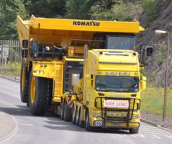 Komatsu 785 being transported