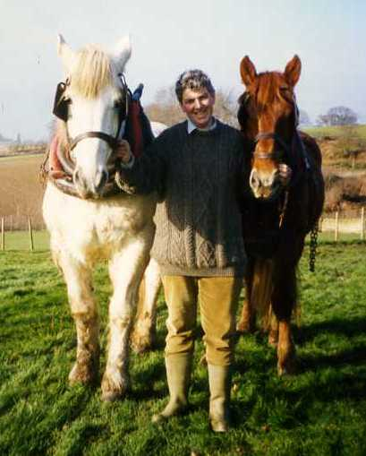 Paul Heiney with working horses in 1993