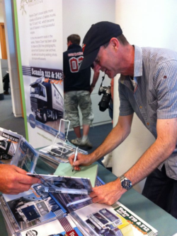 Patrick Dyer signing copies of his new Scania book